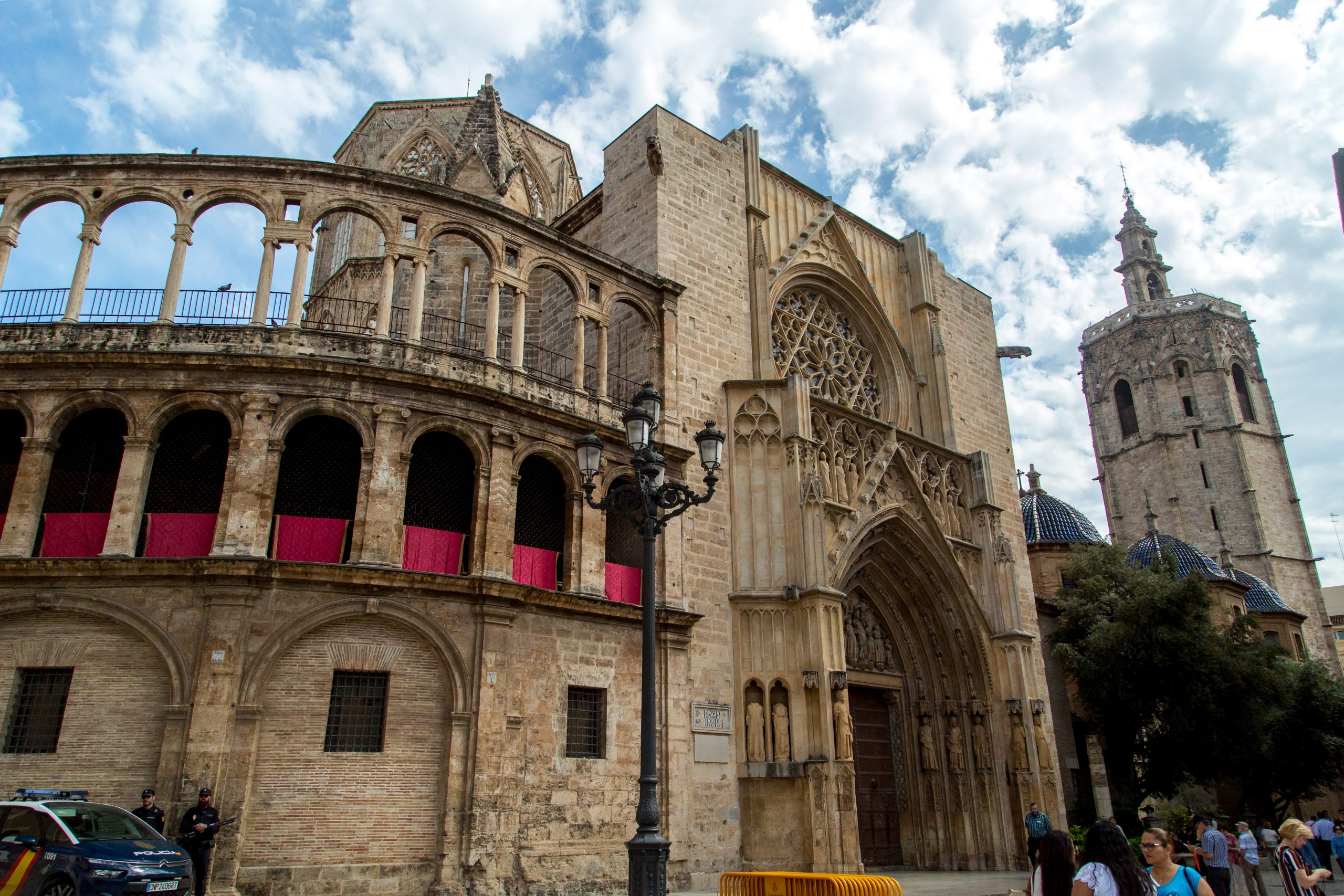 View of St. Mary's Cathedral in Valencia, Spain from the Plaza de la Virgen