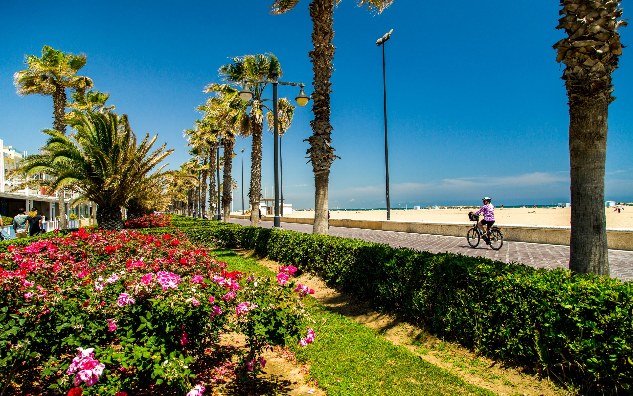 A guest rides a bicycle along the beachside boardwalk in Valencia, Spain.